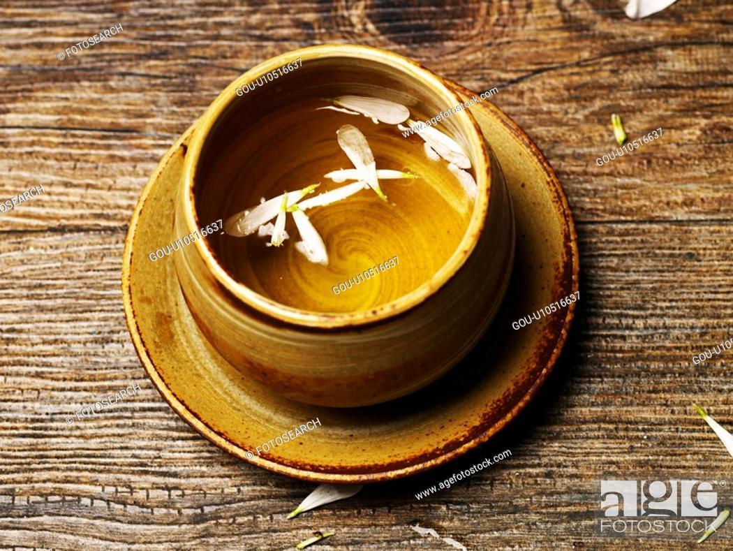 Stock Photo: tea, ceramic cup, beverage, drink, petal, food, tea-things.