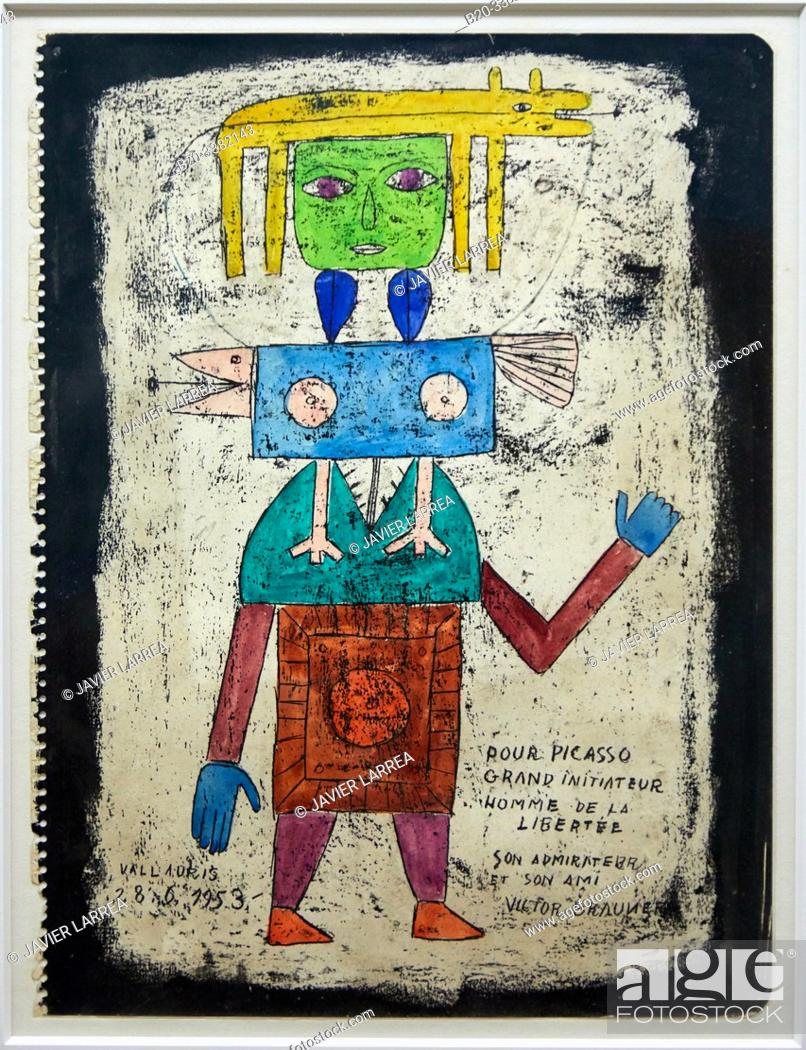 """Stock Photo: """"Pour Picasso grand initiateur"""", 1953, Victor Brauner, Picasso Museum, Paris, France, Europe."""