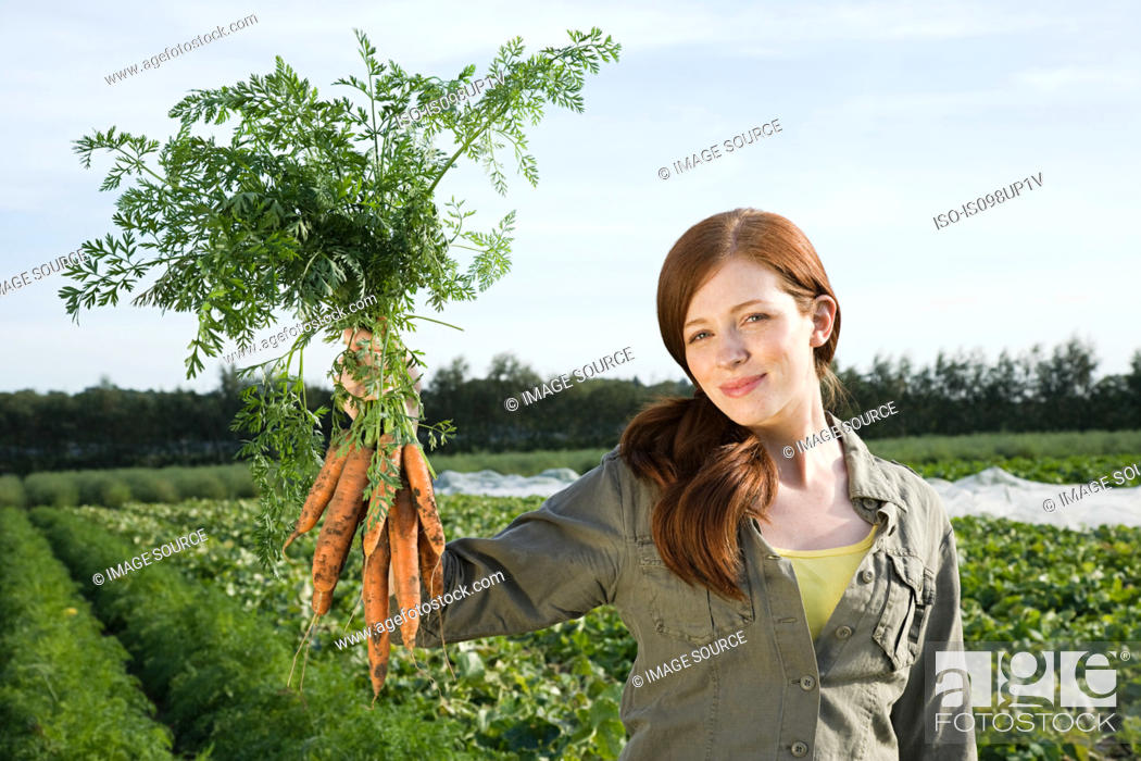 Stock Photo: Young woman holding bunch of carrots in field.