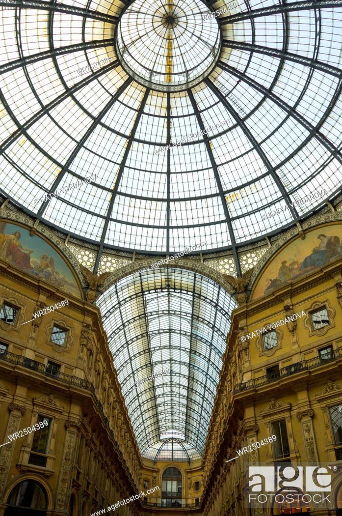 Stock Photo: Old scenic galeria in Milan, Italy.