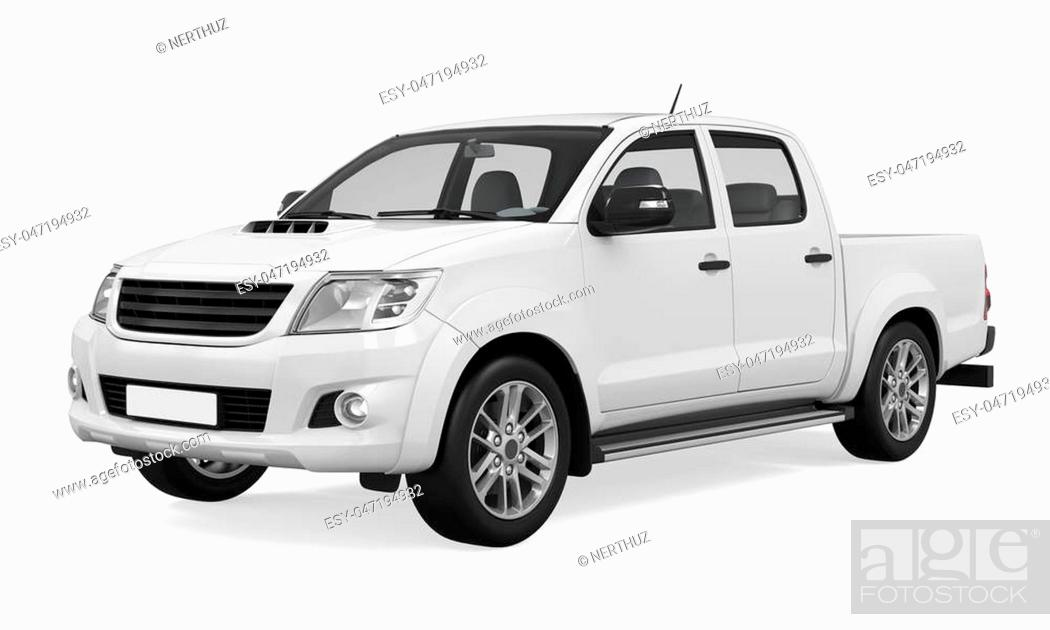 Pickup Truck Isolated On White Background 3d Render Stock