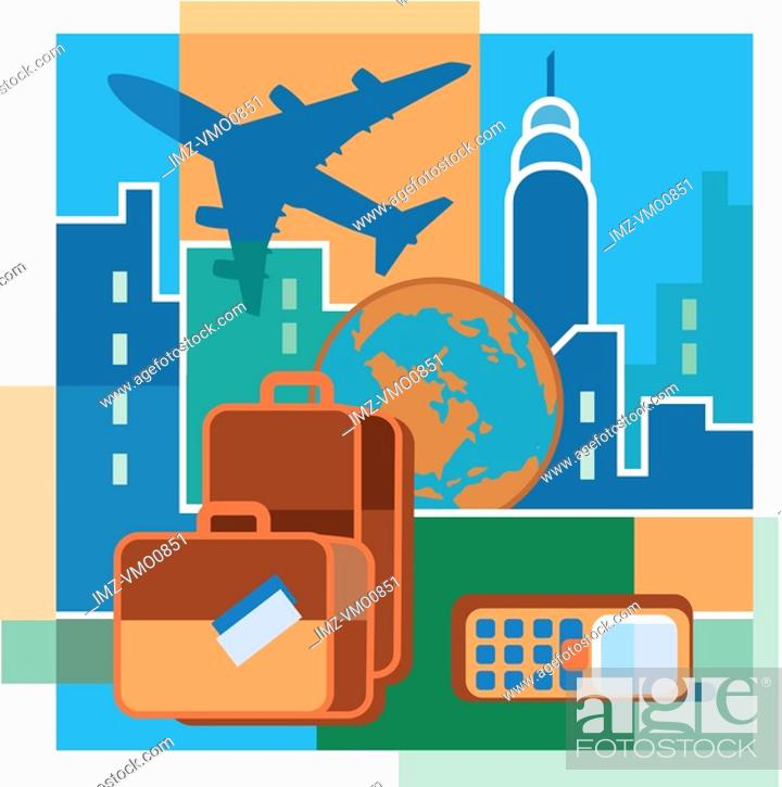Stock Photo: A montage of an airplane, high-rise buildings, luggage, the earth, and a cell phone.