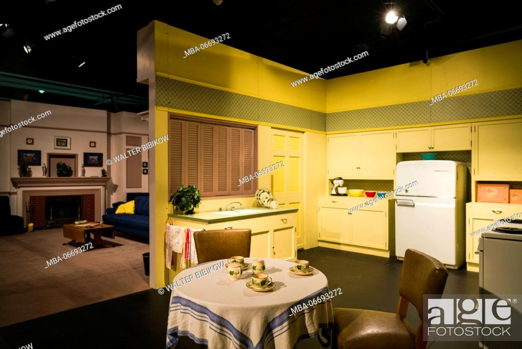 Stock Photo: USA, New York, Western New York, Jamestown, Lucy-Desi Museum, dedicated to comedy star Lucille Ball of the 1950s-era TV show, I Love Lucy, kitchen set.