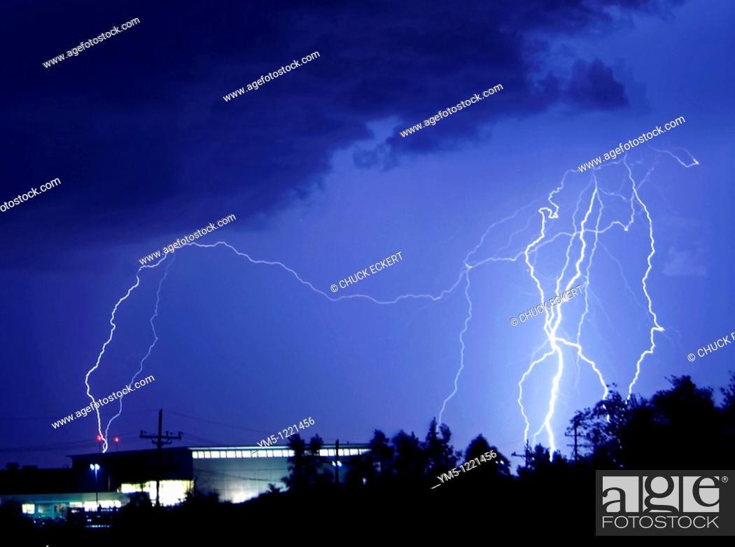 Stock Photo: Lightning Striking Building.