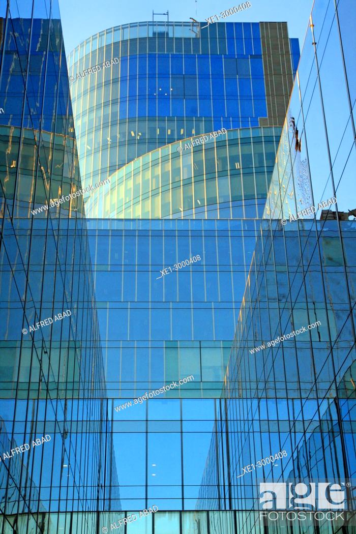 Stock Photo: Glass windows of the Torre Mare Nostrum (Gas Natural building), Barcelona, Catalonia, Spain.