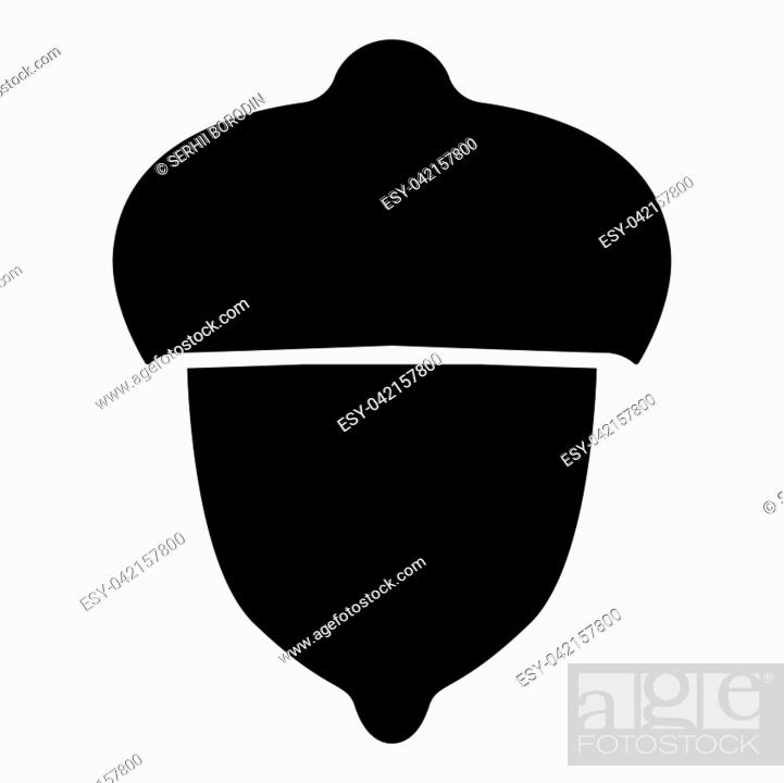 Vector: Acorn forest nut icon black color vector illustration flat style simple image.