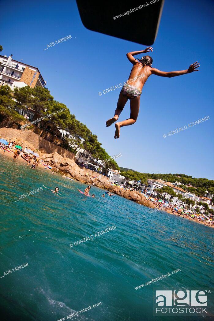 Stock Photo: Tamariu beach, Palafrugell, Baix Emporda, Costa Brava, Girona province, Catalonia, Spain.
