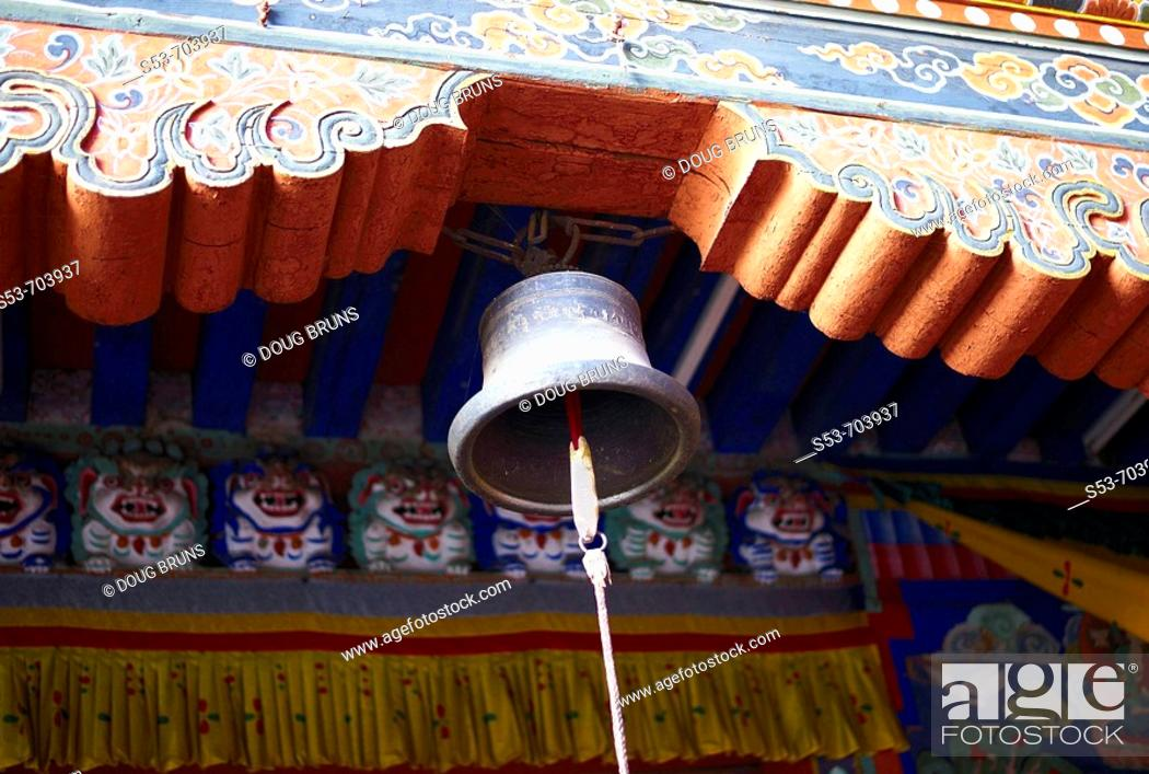 Stock Photo: A bell in a monastery in Bhutan.