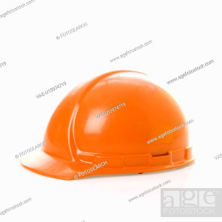 Stock Photo: Orange safety hard hat.