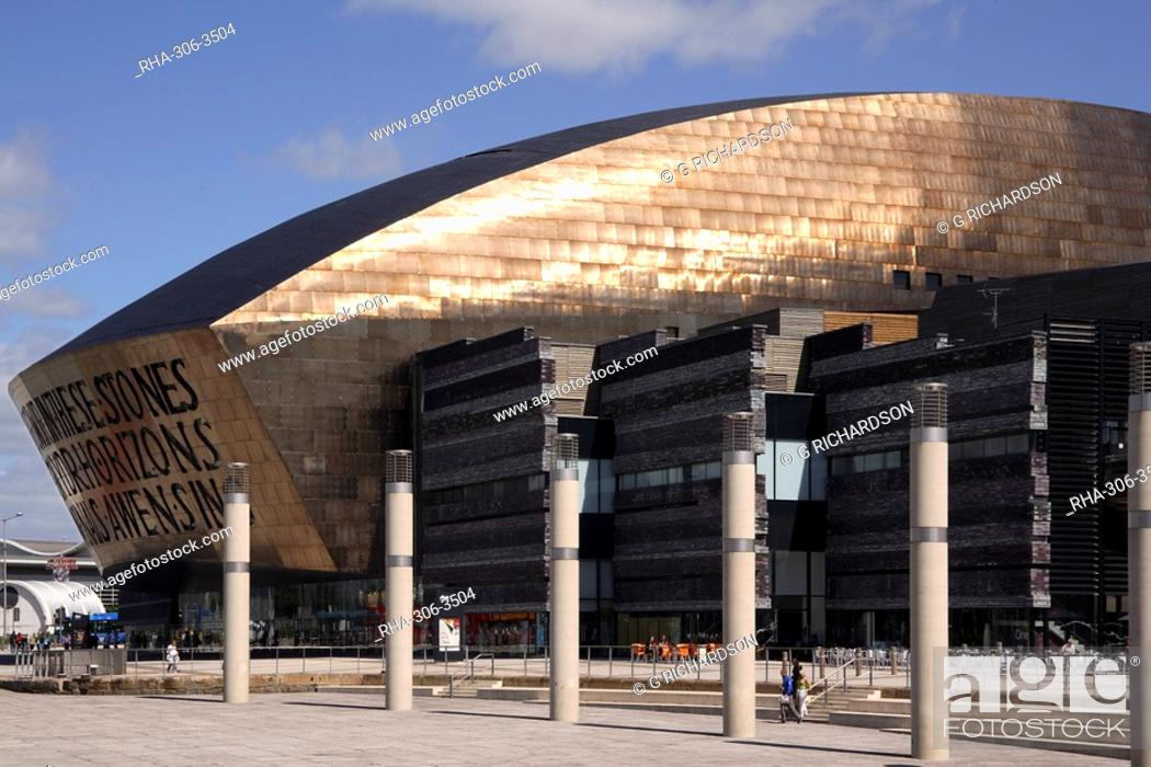 Stock Photo: Millennium Centre for the Arts, Cardiff Bay, Cardiff, Wales, United Kingdom, Europe.