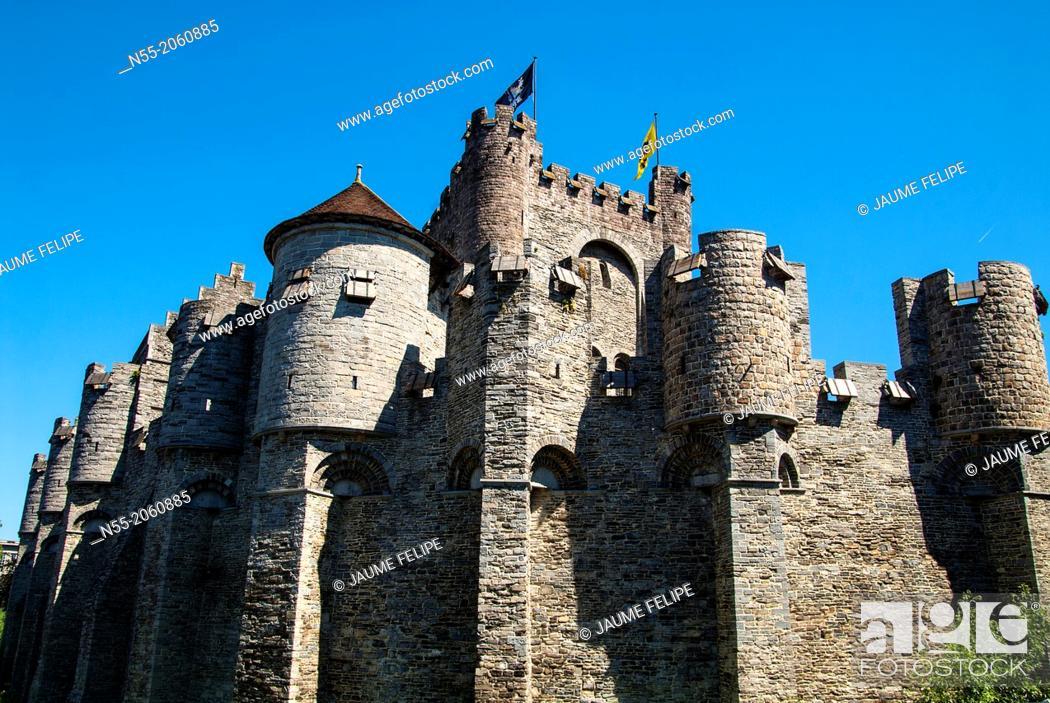 Stock Photo: Gravensteen (Castle of the Counts). Ghent, West Flanders, Belgium.