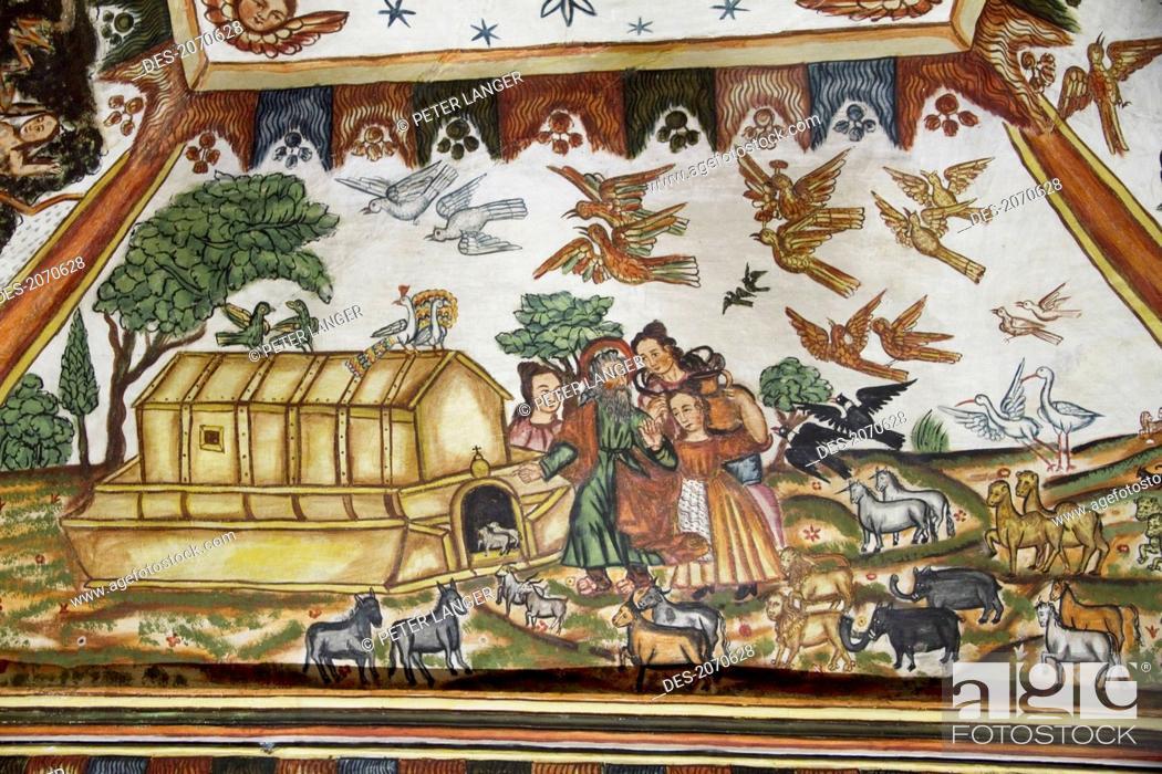 Stock Photo: Noah's Ark Illustrated By Baroque-Mestizo Frescos Dating To The 17Th Century In The Baptistery Of Santiago De Curahuara De Carangas Church.