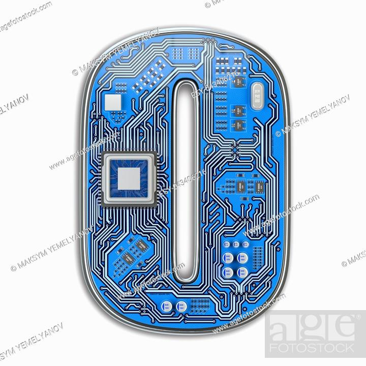 Imagen: Number 0 zero, Alphabet in circuit board style. Digital hi-tech letter isolated on white. 3d illustration.