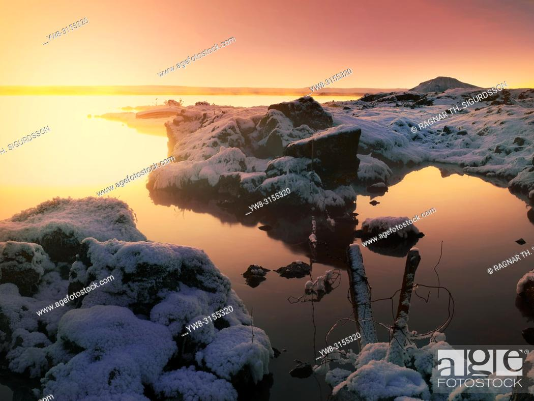Stock Photo: Winter, Lake Myvatn, Iceland.