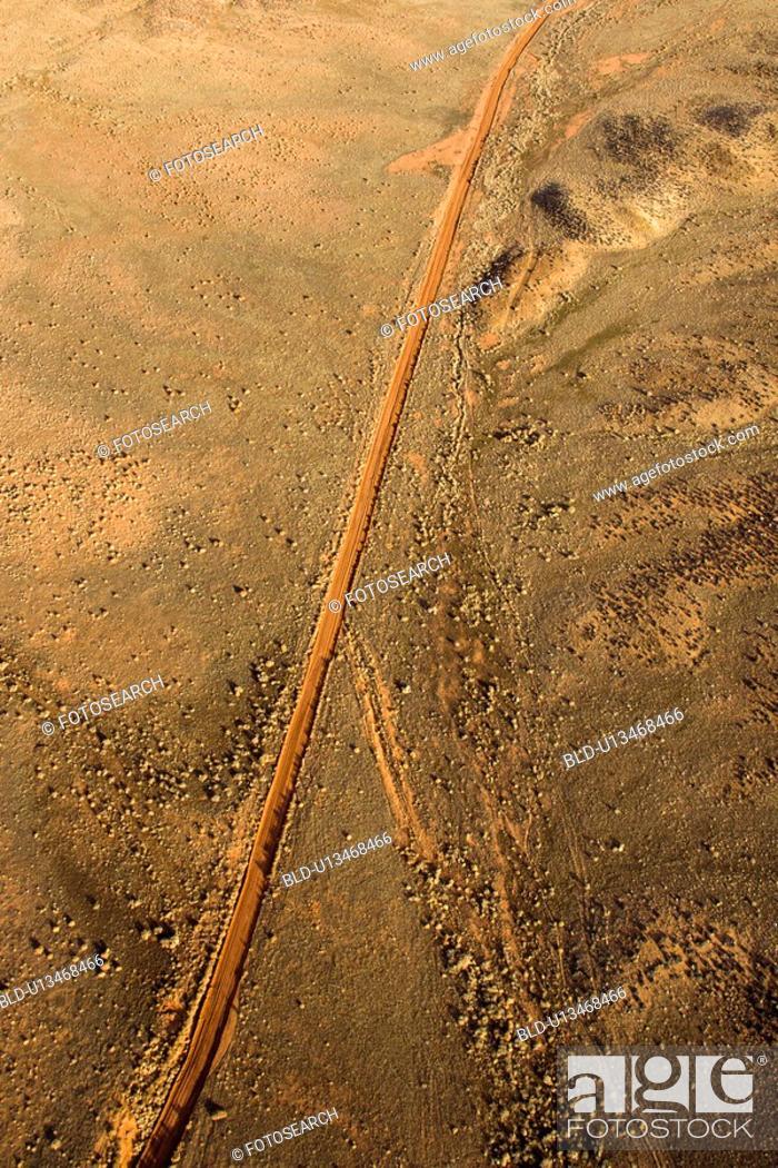 Stock Photo: Aerial landscape of rural dirt road in Utah, United States.