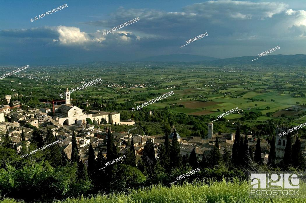 Stock Photo: High angle view of a church in a town, Santa Chiara Church, Assisi, Umbria, Italy.