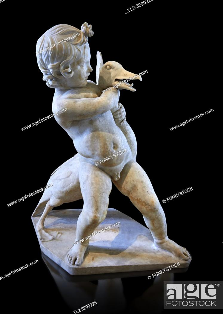 Stock Photo: Child and Goose - a 1st or 2nd century Roman sculpture from Villa des Quintilii on the Appia Way south of Rome, Italy. Three other similar versions of this.