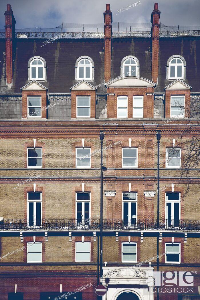 Stock Photo: Victorian Terrace Facade - Chelsea, London UK.