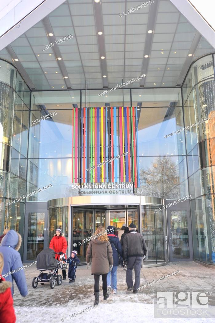Stock Photo: Entrance to Sollentuna Centrum shopping mall, Stockholm, Sweden.