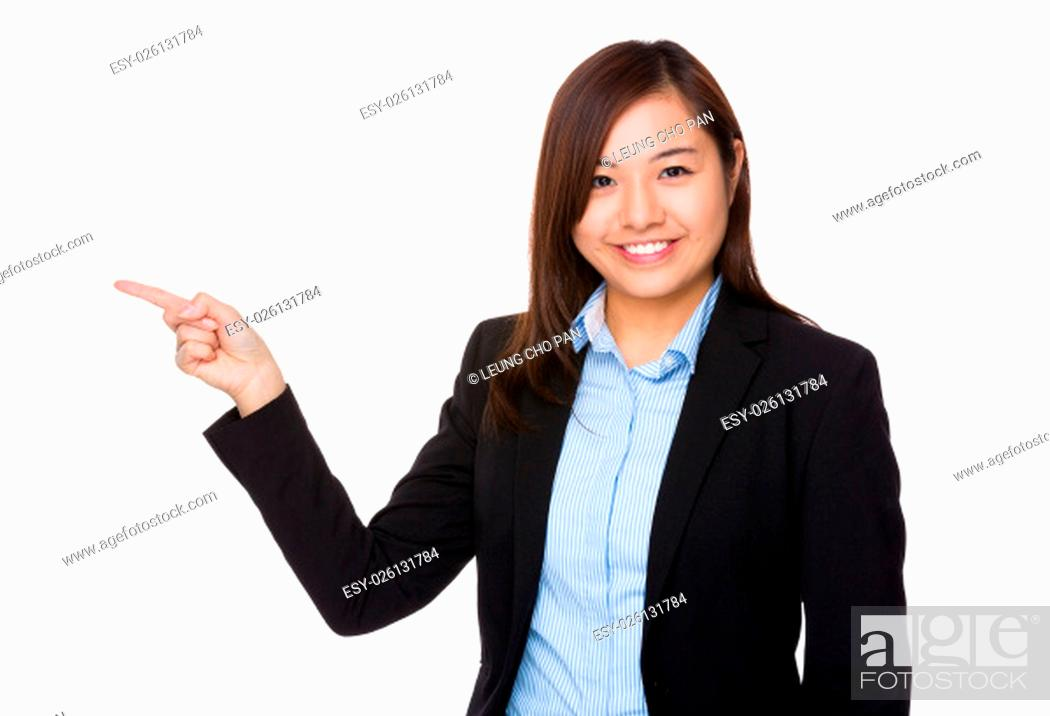 Stock Photo: Businesswoman showing finger point up.