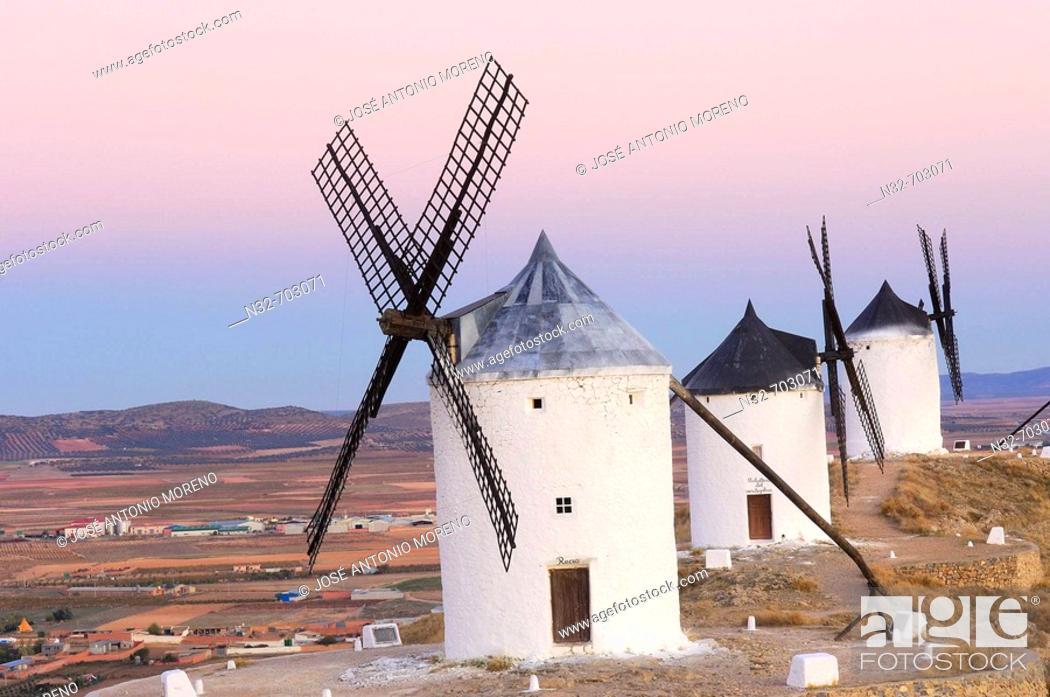 Stock Photo: Windmills. Consuegra. Toledo Province. Route of Don Quixote. Castilla-La Mancha. Spain.