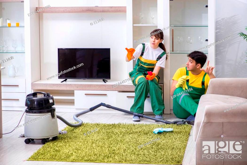 Stock Photo: Cleaning professional contractors working at house.