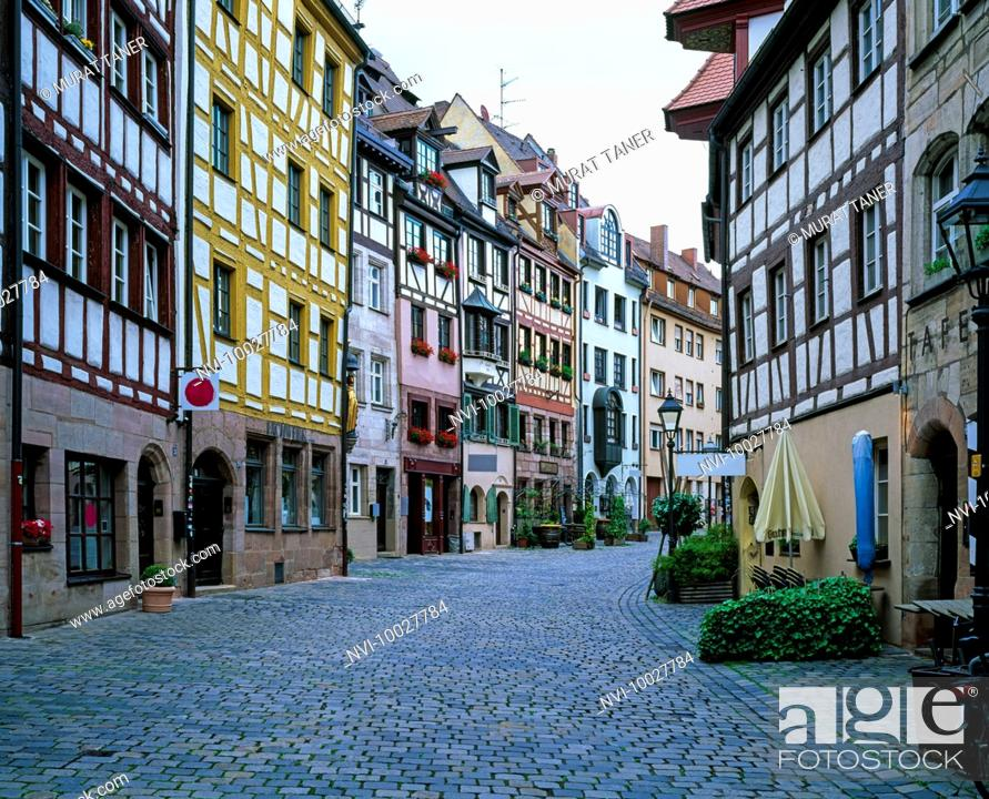 Stock Photo: Half timbered architecture at Weissgerbergasse, Tanner's Lane, Nuremberg, Bavaria, Germany.