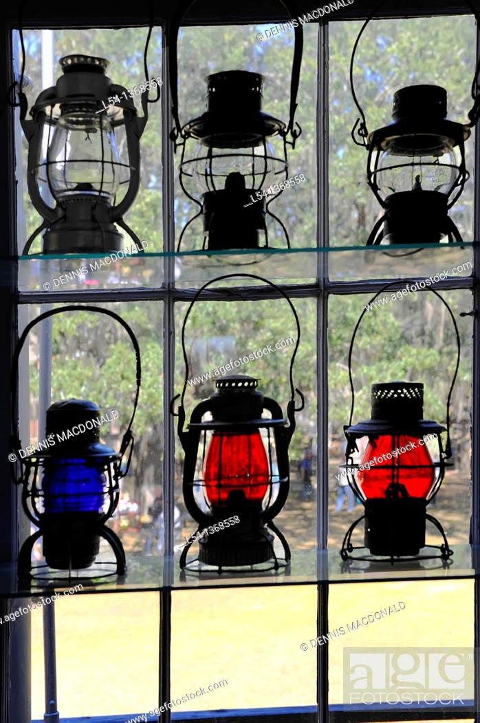 Stock Photo: Colorful lanterns used at train station Florida State Fair Tampa historic Cracker Country display.