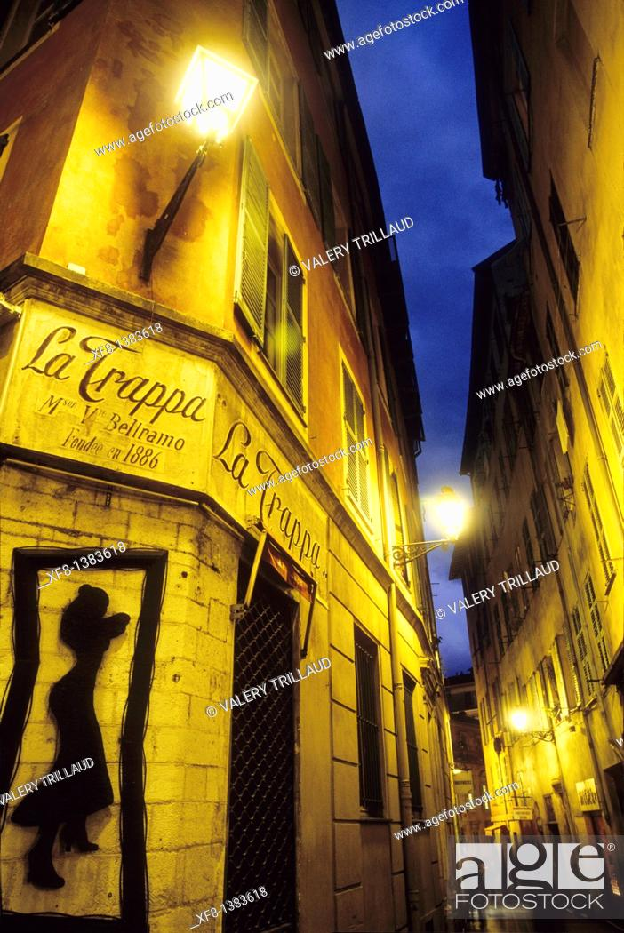 Stock Photo: Lighted street in the old town of Nice, Alpes-Maritimes, Provence-Alpes-Côte d'Azur, France.