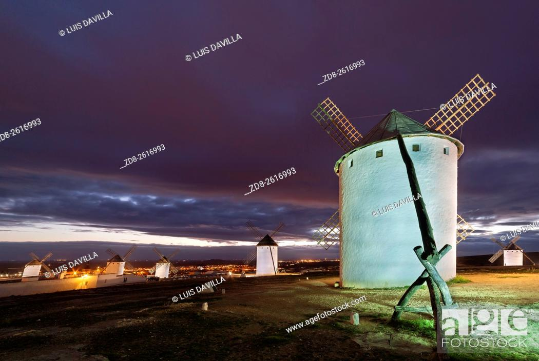Stock Photo: One of the main sights on this trip is here in the region of Ciudad Real, Campo de Criptana. This village presents the most famous image of La Mancha.