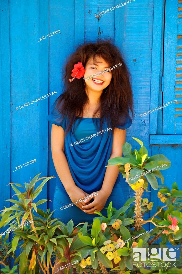 Stock Photo: Portrait of woman, Cambodia.