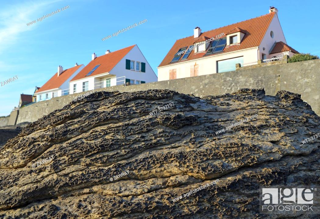Stock Photo: Rock and houses near Adresselles.