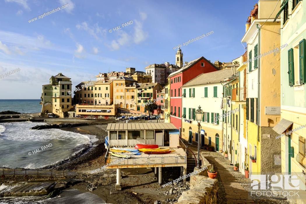 Stock Photo: cityscape of historical traditional houses around little gulf with old houses near the beach, shot on a sunny winter day at Bogliasco, Genova, Italy.