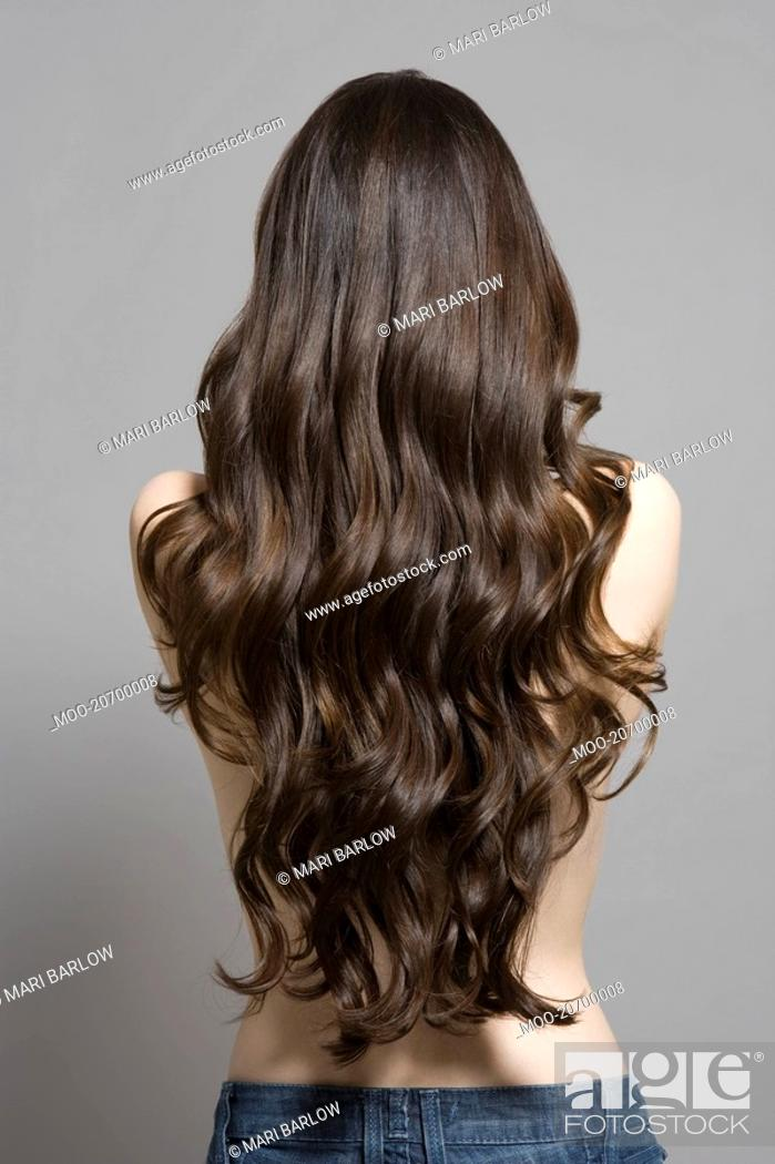 Stock Photo: Woman with long brown wavy hair rear view.