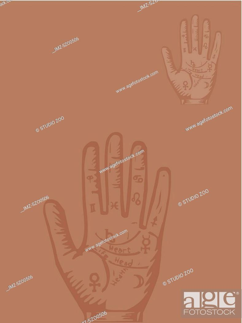 Stock Photo: Palmistry hand on brown.