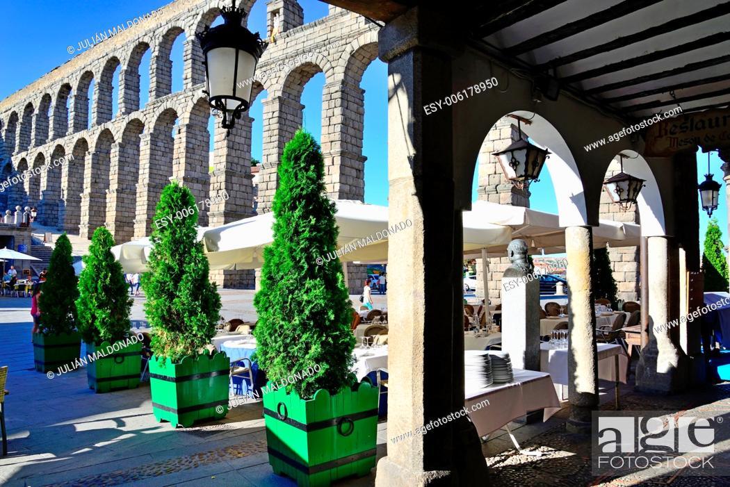 Stock Photo: Aqueduct of Segovia, Castilla Leon, Spain.