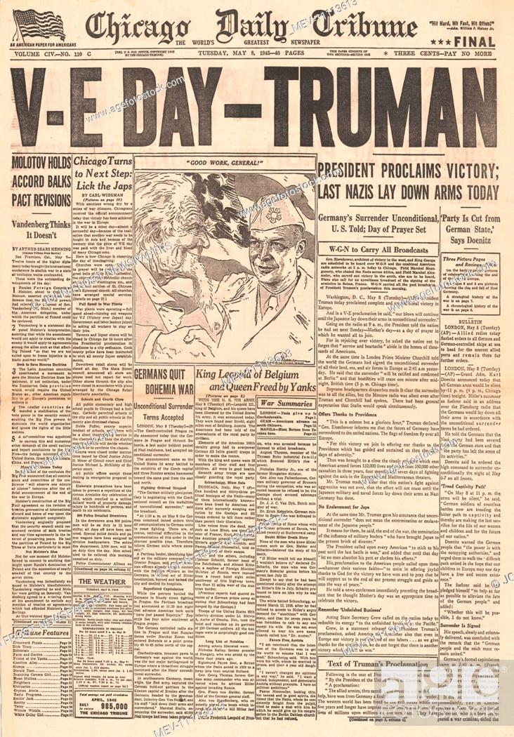 1945 Chicago Daily Tribune front page reporting VE Day