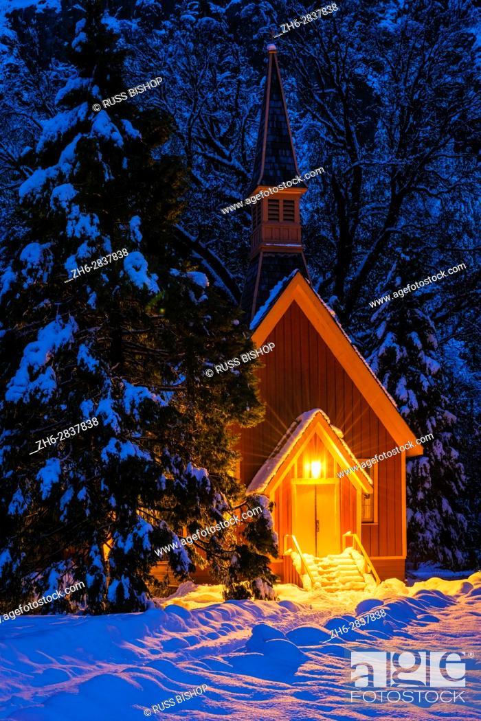Stock Photo: Yosemite chapel in winter, Yosemite National Park, California USA.