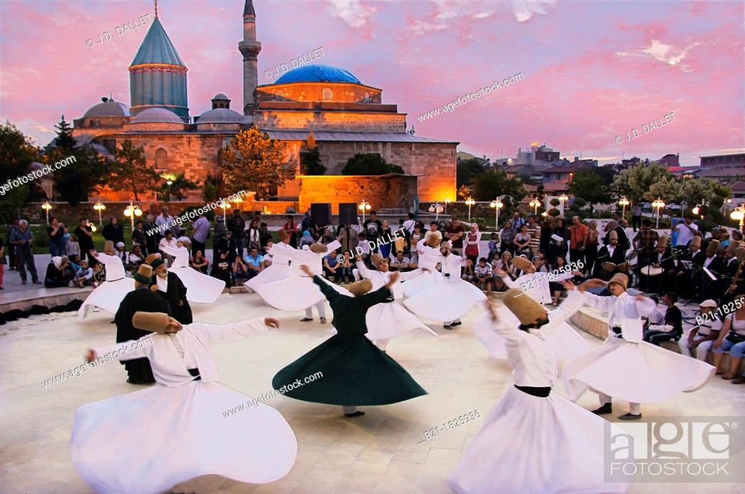 Stock Photo: Mystic dance performed within the Sama worship ceremony by the Sufi Dervishes, Konya, Anatolia, Turkey.