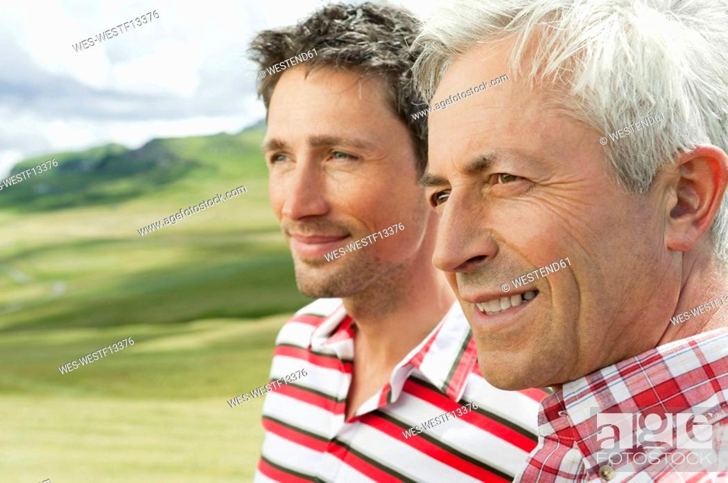 Stock Photo: Italy, Seiseralm, Two men, portrait, close-up.