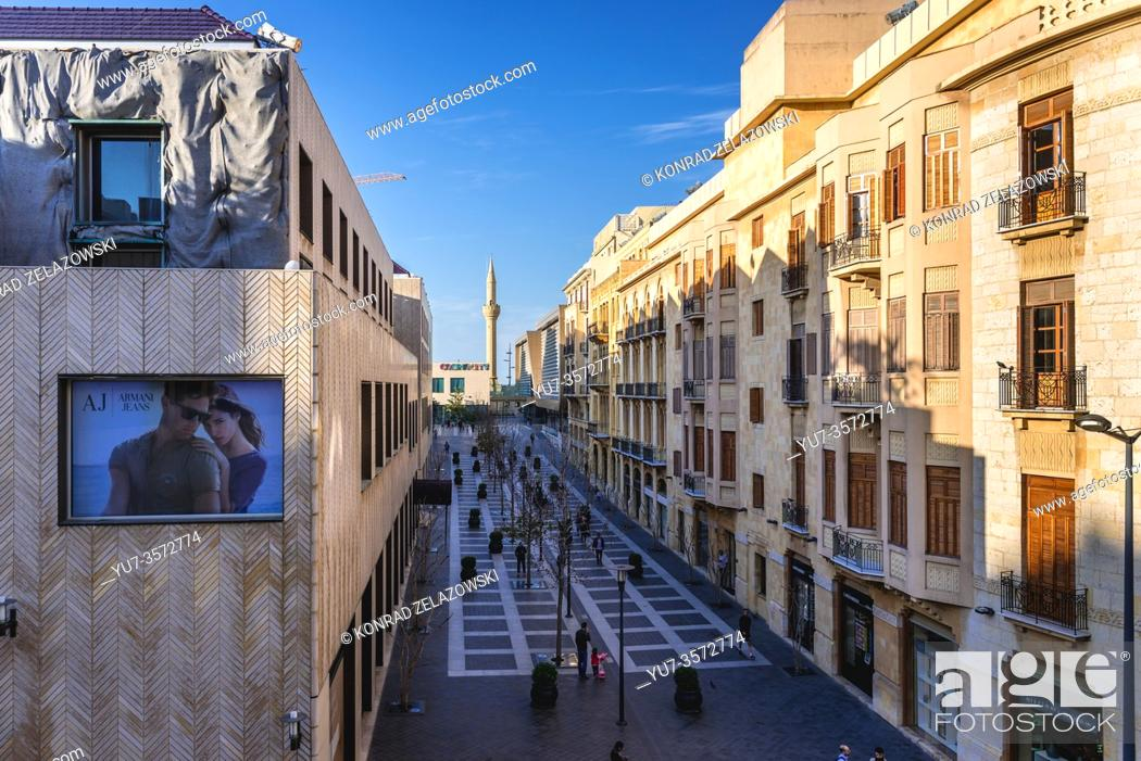 Stock Photo: Beirut Souks shopping area in downtow of Beirut, Lebanon, view with Al Majidiyyeh mosque minaret.