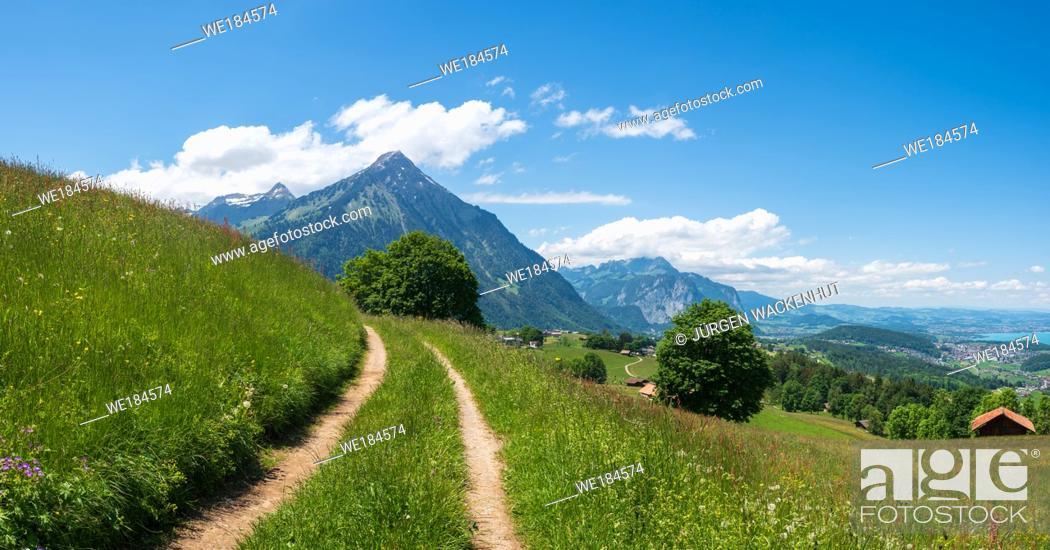Imagen: Panorama overlooking Mount Niesen and Lake Thun, Aeschi bei Spiez, Bernese Oberland, Switzerland, Europe.