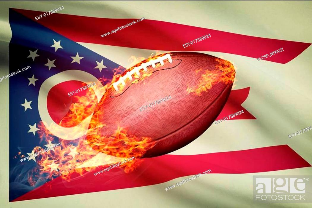 Imagen: American football ball with flag on backround series - Ohio.