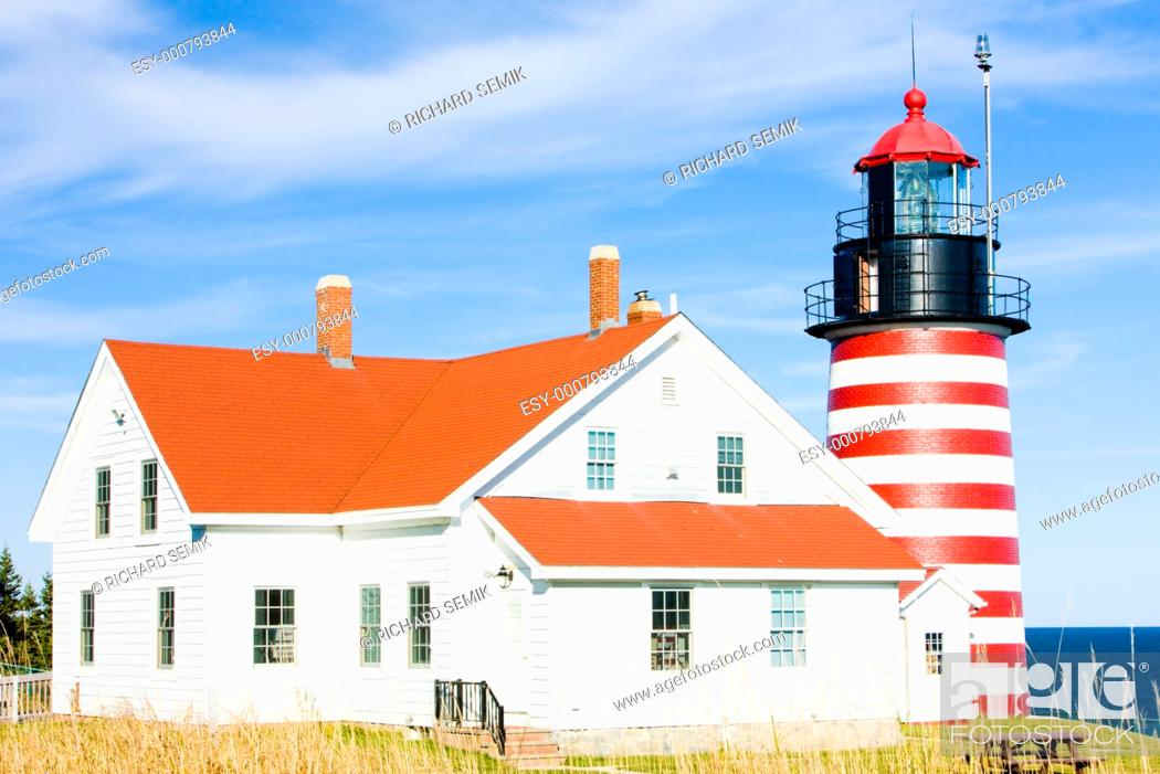 Stock Photo: West Quoddy Head Lighthouse, Maine, USA.