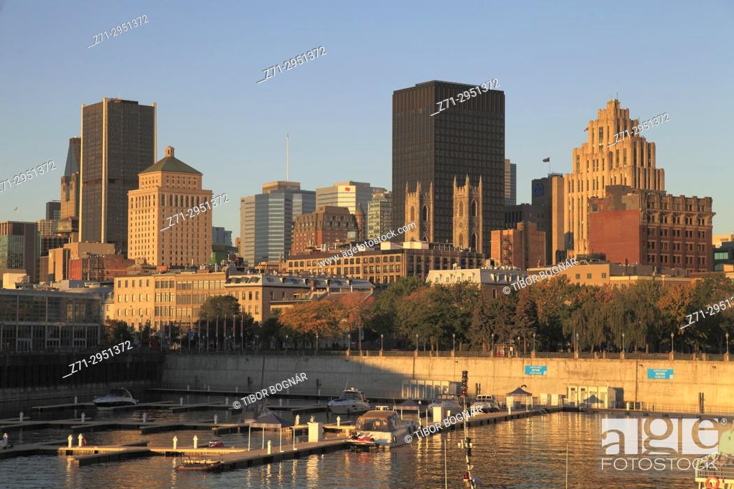 Stock Photo: Canada, Quebec, Montreal, skyline, downtown, Old Port,.