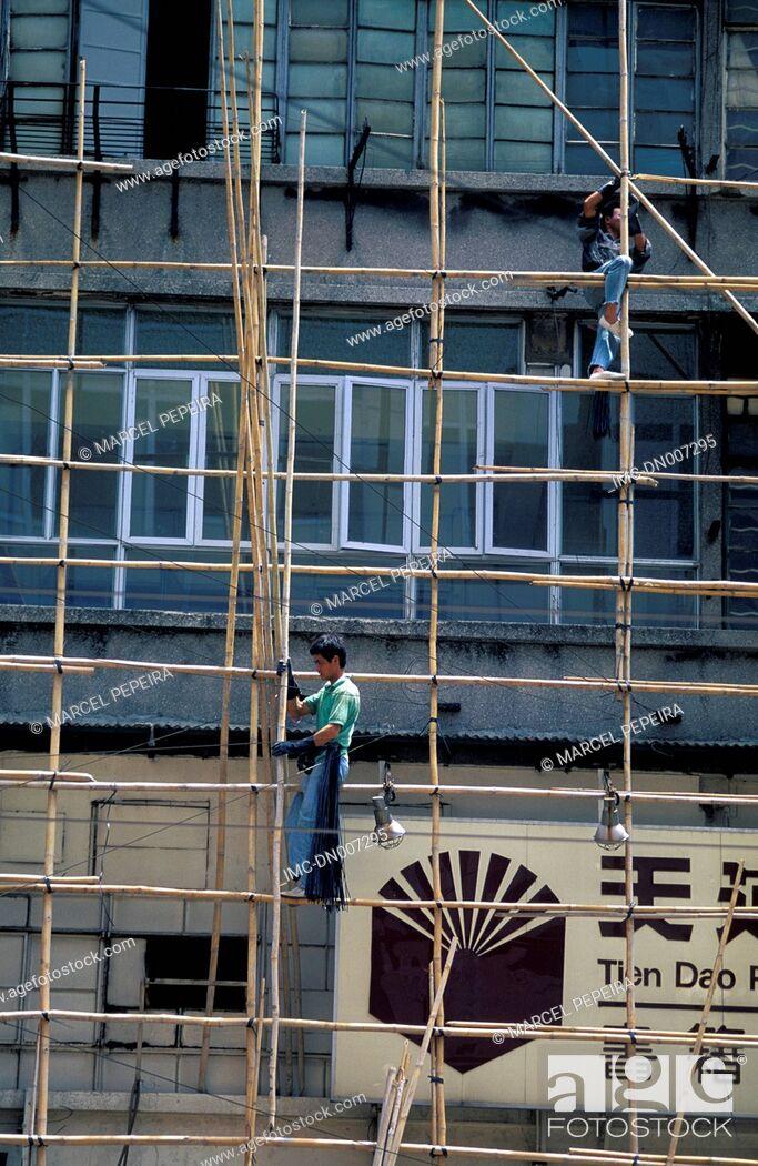 Imagen: China, Hong Kong, Kowloon, scaffoldings.