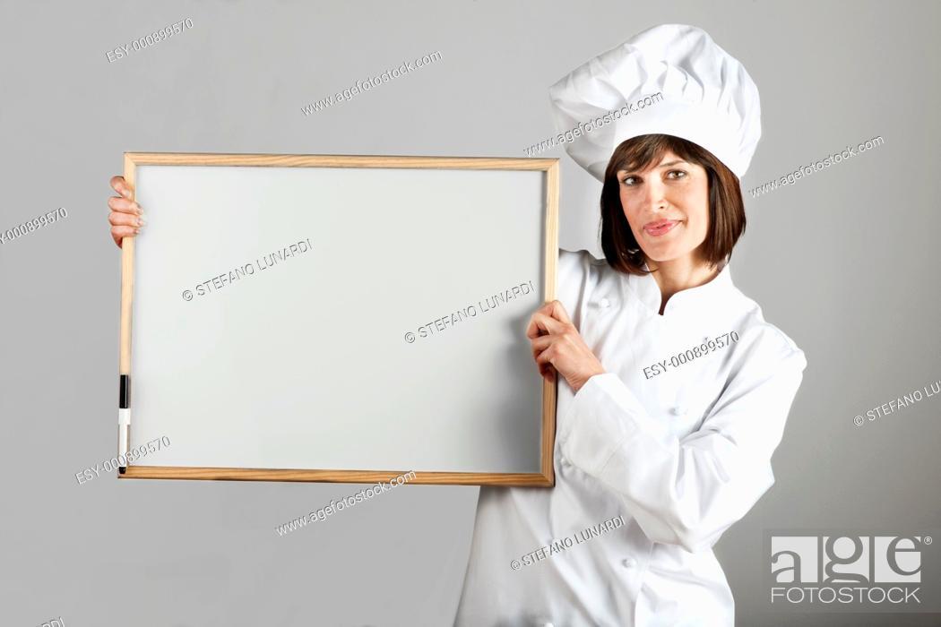 Stock Photo: Female Chef with Blackboard.