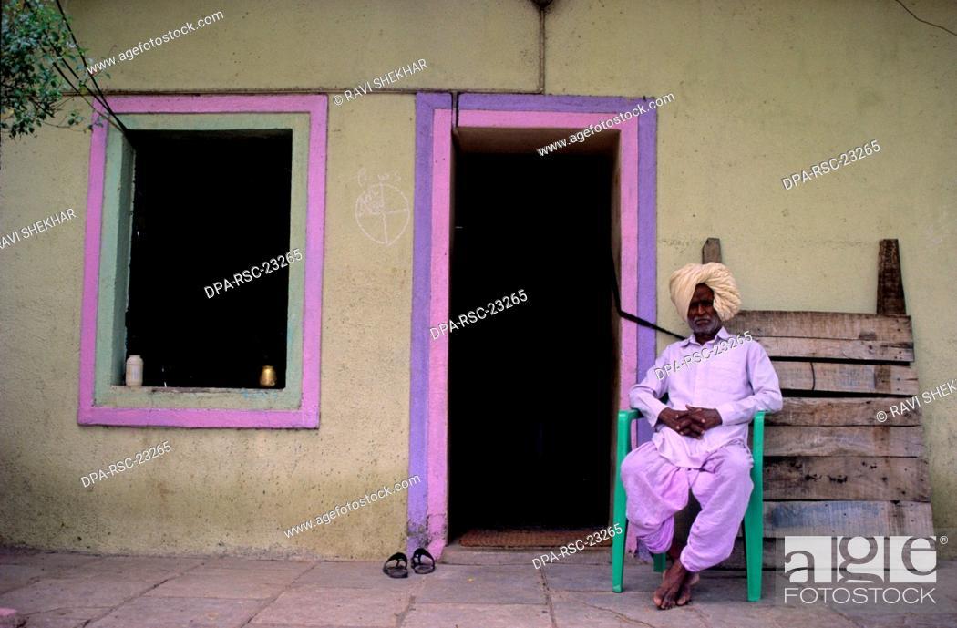 Stock Photo: Mr.Barnekar Temple Resident , Doorless Village , Shani Signapur , Maharashtra , india.