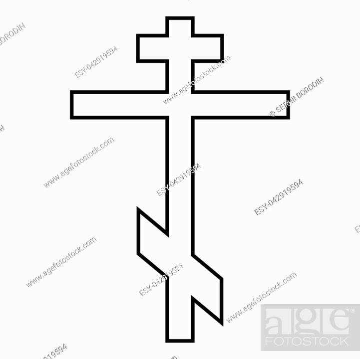 Stock Vector: Cross eight-pointed of Greek-Catholic Orthodox icon black color vector illustration flat style simple image.