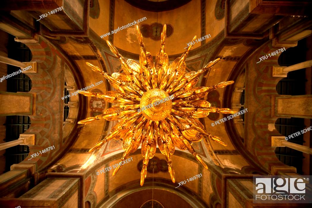 Stock Photo: golden Chandelier and the ceiling inside the church Hagia Sophia in Thessaloniki, Macedonia, Greece.